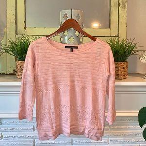 WHBM Pink Crochet Knit Boatneck Sweater XS